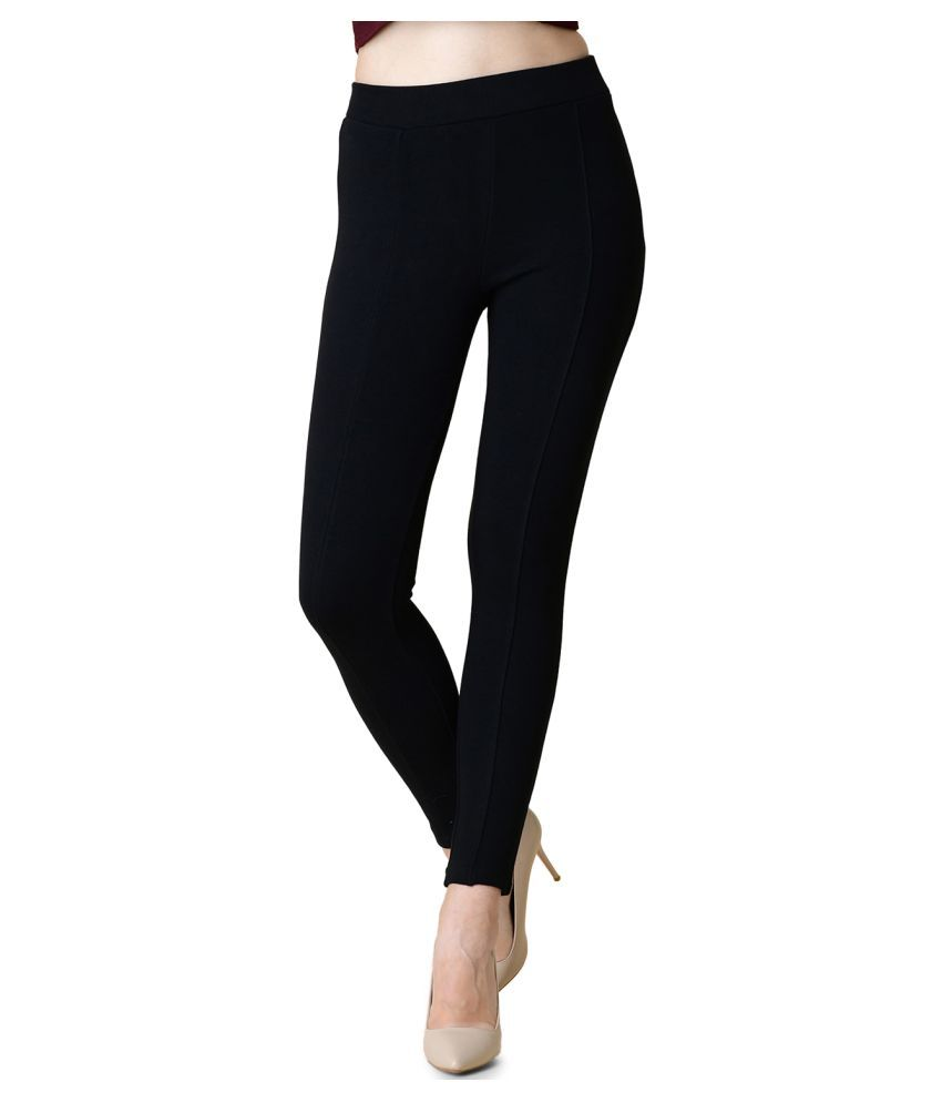 Newrie Cotton Jeggings - Black