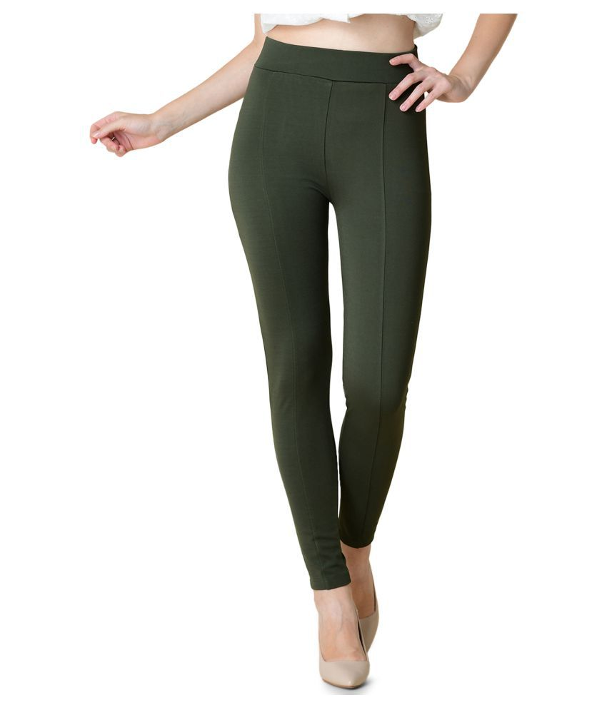 Newrie Cotton Jeggings - Green