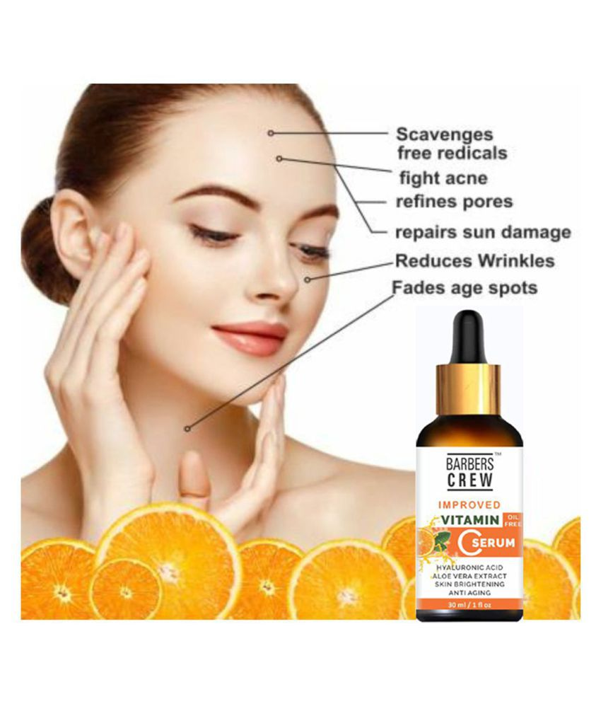 Barbers Crew Improved Vitamin C Face Serum- For Oil Free & Skin Whitening & Brightening Face Serum 30 mL