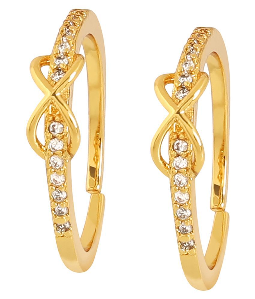 Beautiful Gold Plated White Crystal Stone Casual Toe Ring For Women