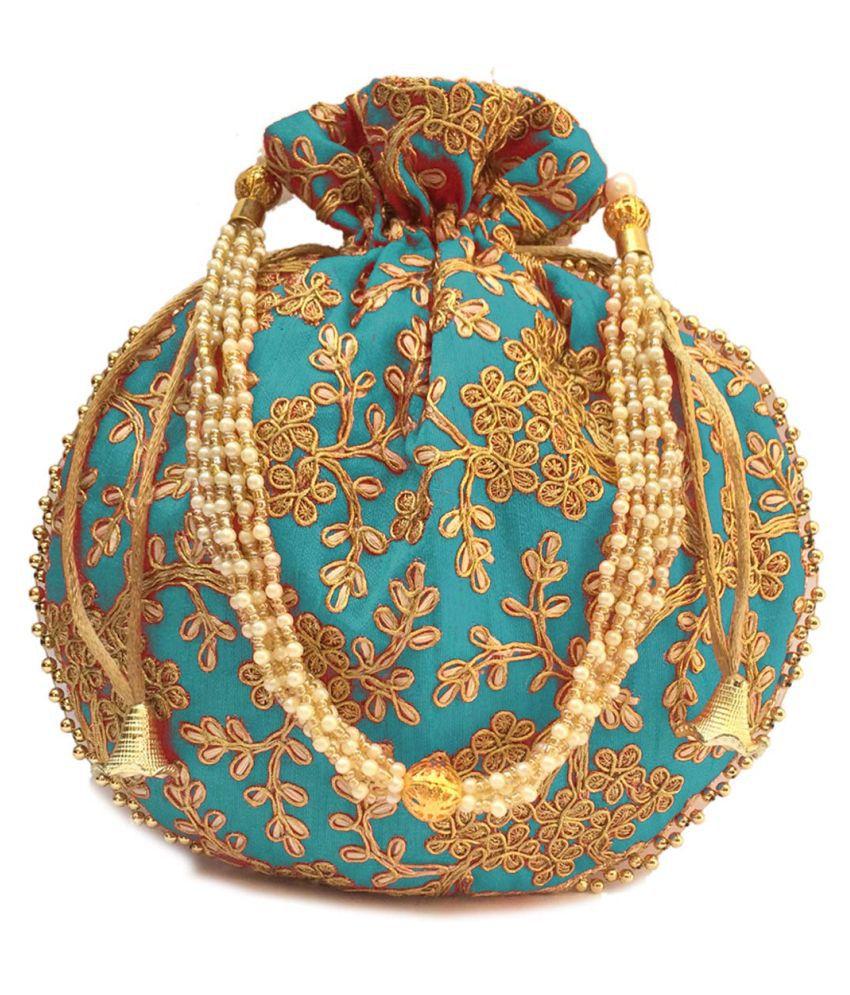 Bulbul Blue Silk Potli