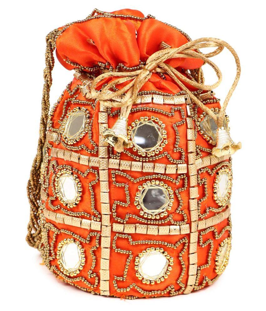 Bulbul Orange Silk Potli