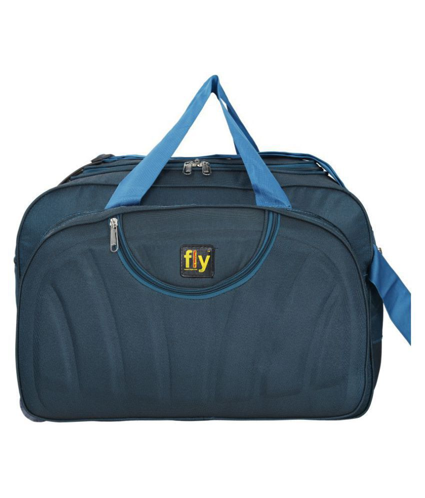 Leather Gifts Sky Blue Solid L Duffle Bag