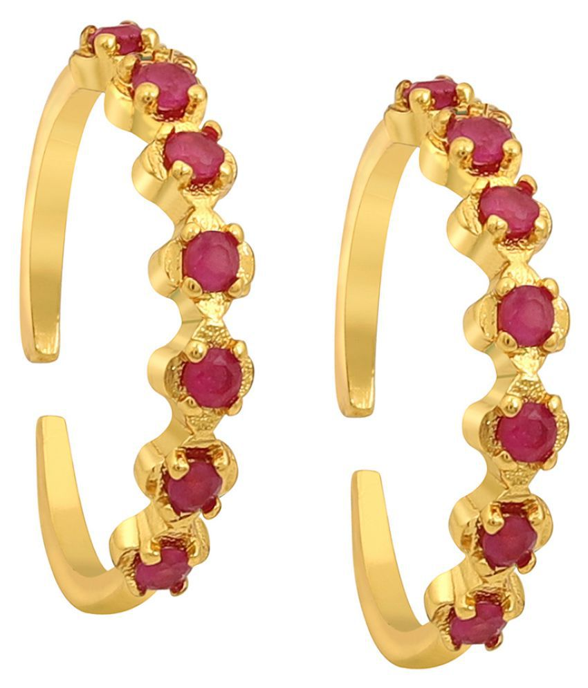 MUCH MORE Ethnic Gold Tone Toe Ring With Beautiful stone Work  Traditional Jewellery for Women's