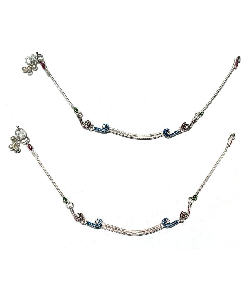 R K JEWELLERS- Pure Silver Fancy Chain Design Payal or Anklet 10.5 inches