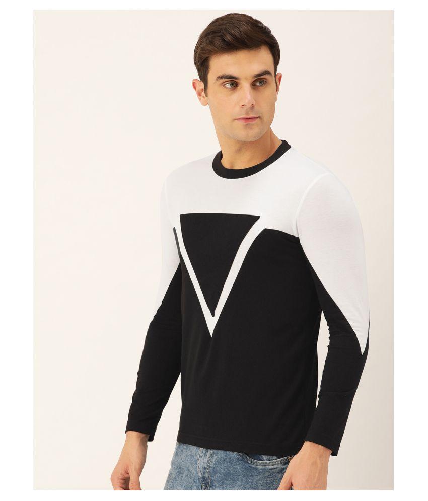 Seven Rocks Cotton Blend Black Color Block T-Shirt