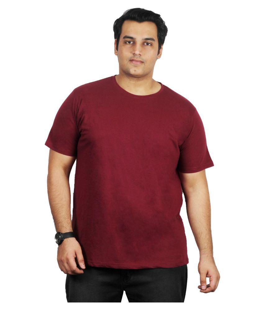 Xmex Cotton Blend Maroon Solids T-Shirt
