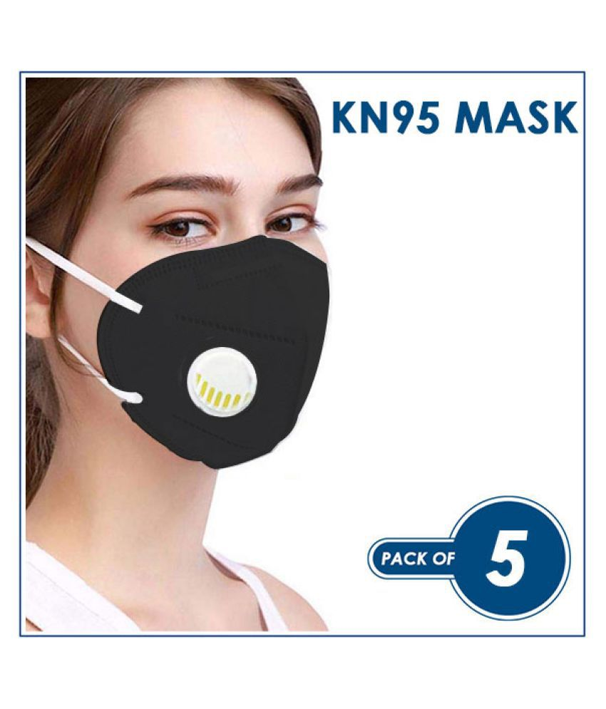 KN 95 Virus Protective Face Mask With Respirator, Reusable, Anti- Dust/Pollution/Bacterial Mask Color BLACK (Pack of 5)
