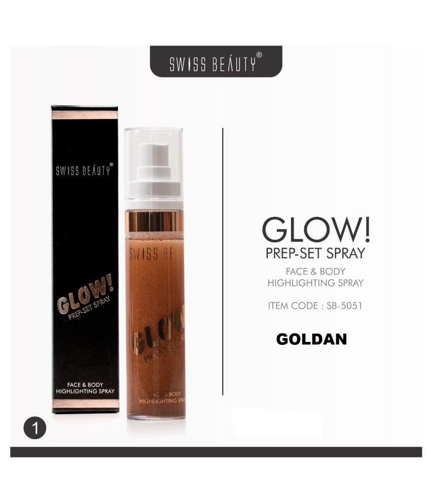 Swiss Beauty Shine (GOLDAN) With FREE Kajal Face Makeup Setting Spray 50ml Face & Body Makeup Setting Spray 50