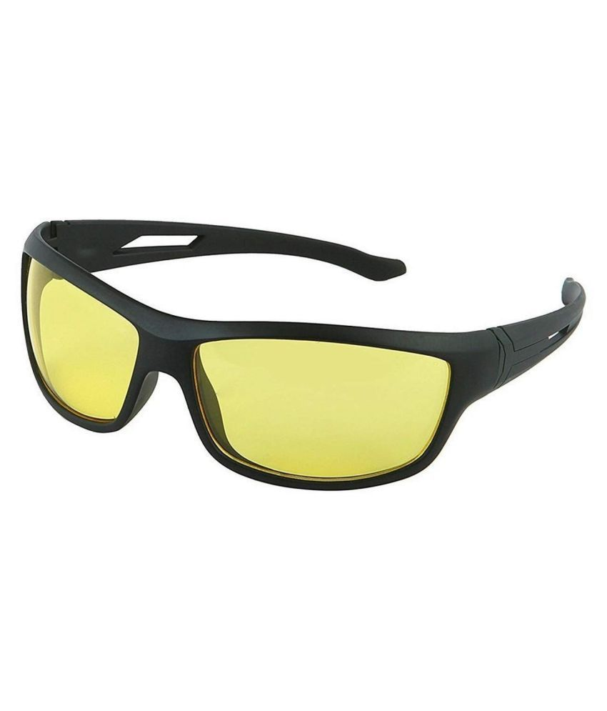 Unisex Day and Night HD Vision Anti-Glare UV Protected Sunglass for Driving (Yellow) Set of 1