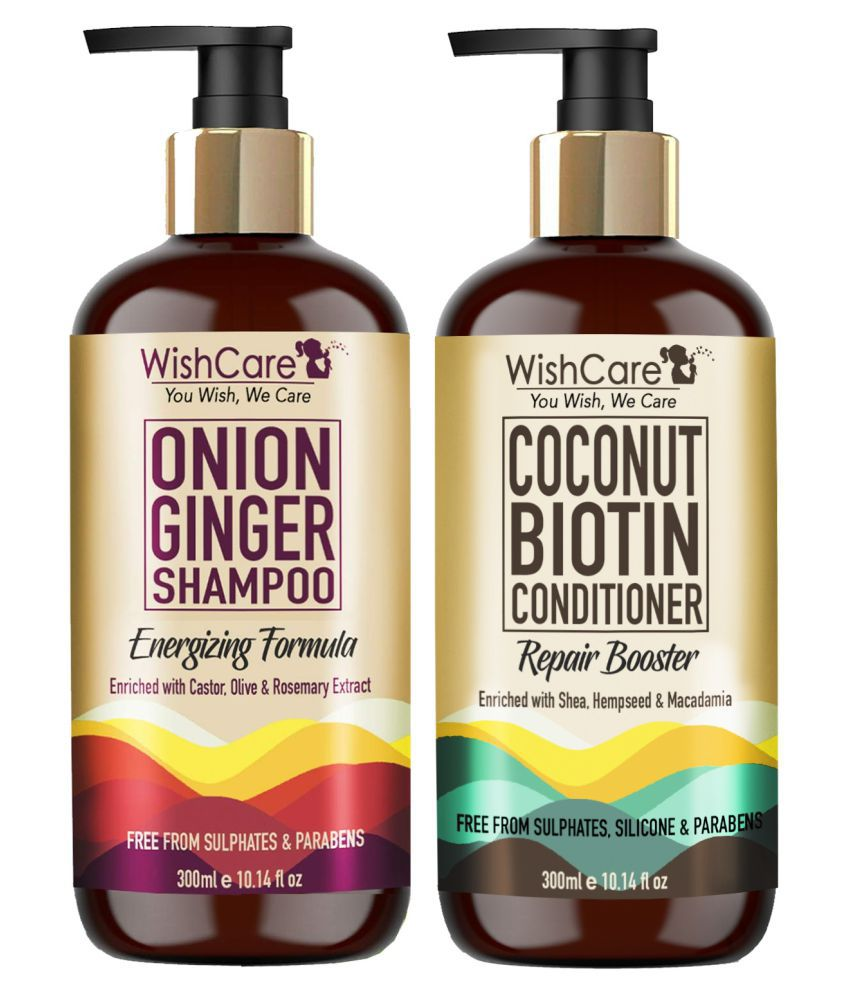WishCare Red Onion Ginger & Coconut Biotin Shampoo + Conditioner 600 mL Pack of 2