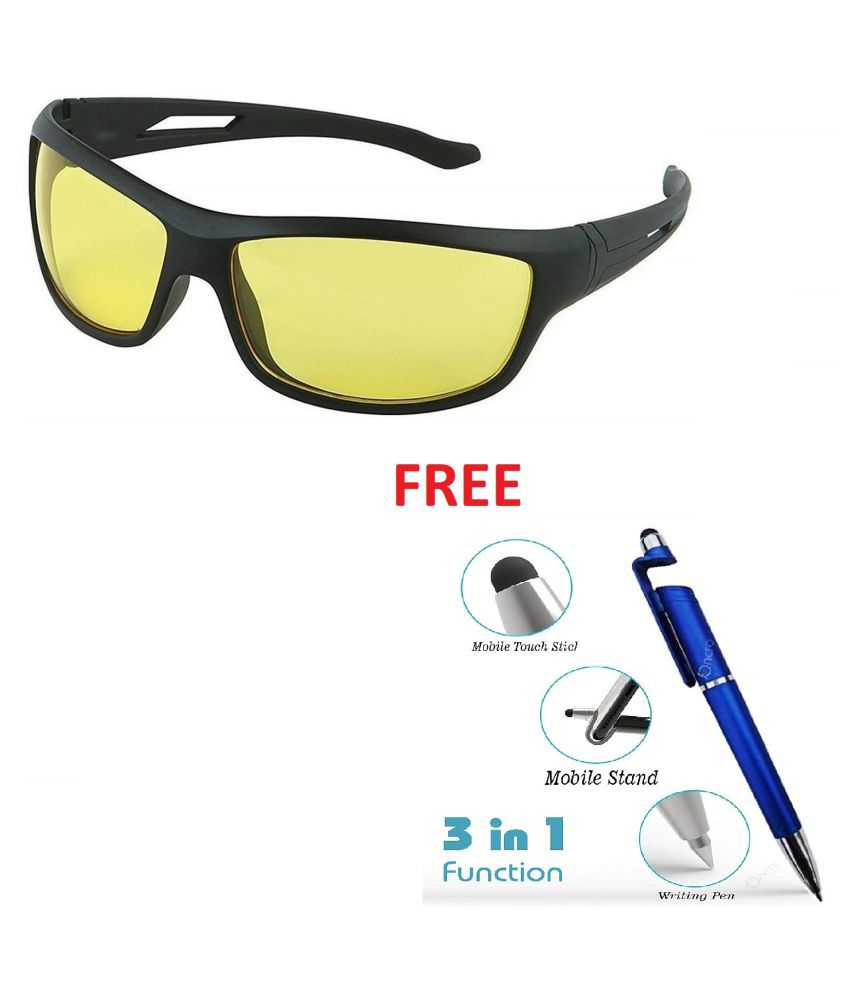 yellow  Lens Black Frame Night Vision Driving Sunglasses for Men and Women Pack of 1 With Free 3 In 1 Wipe Pen
