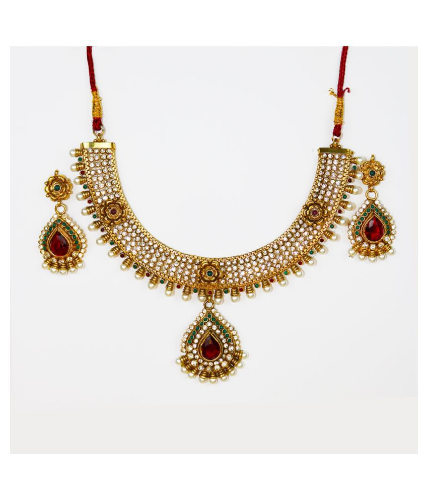 Abhiroopa Alloy Golden Princess Contemporary/Fashion Gold Plated Necklaces Set