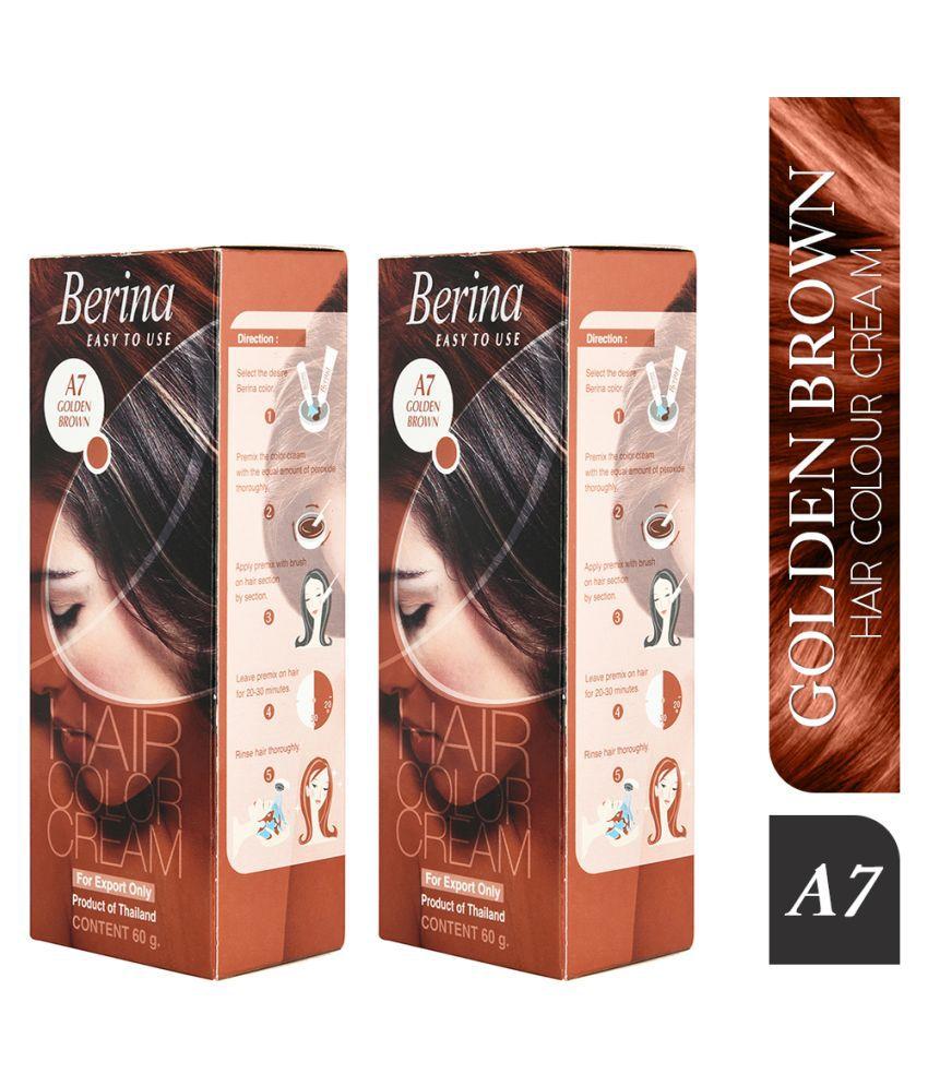 Berina brown A7 Golden Semi Permanent Hair Color Brown 60 g Pack of 2
