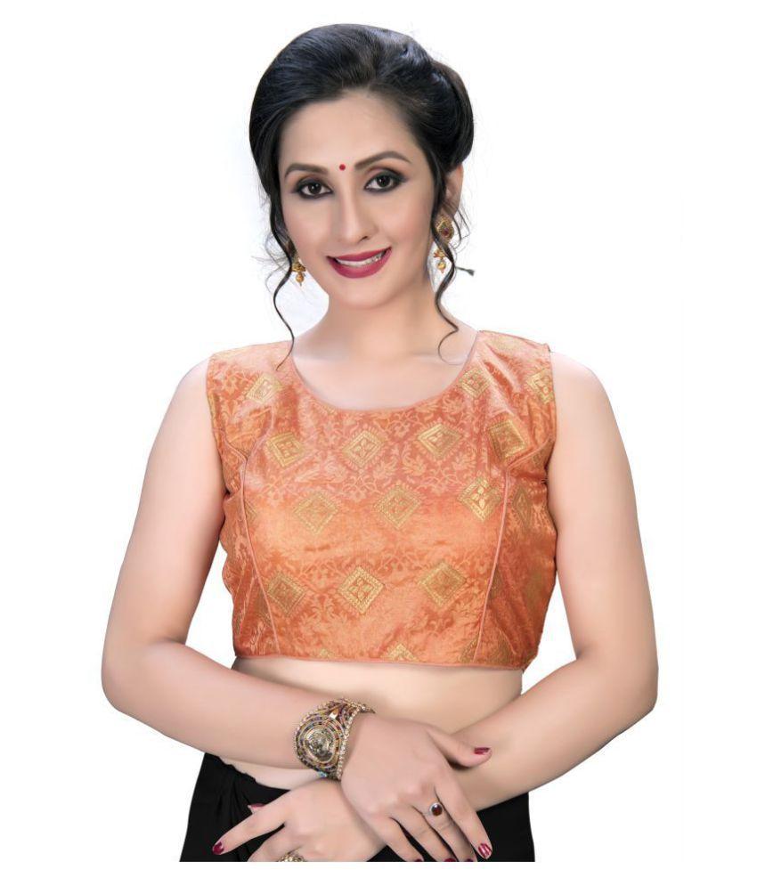 Shubh Sanidhya Peach Jacquard Semi Stitched Blouse