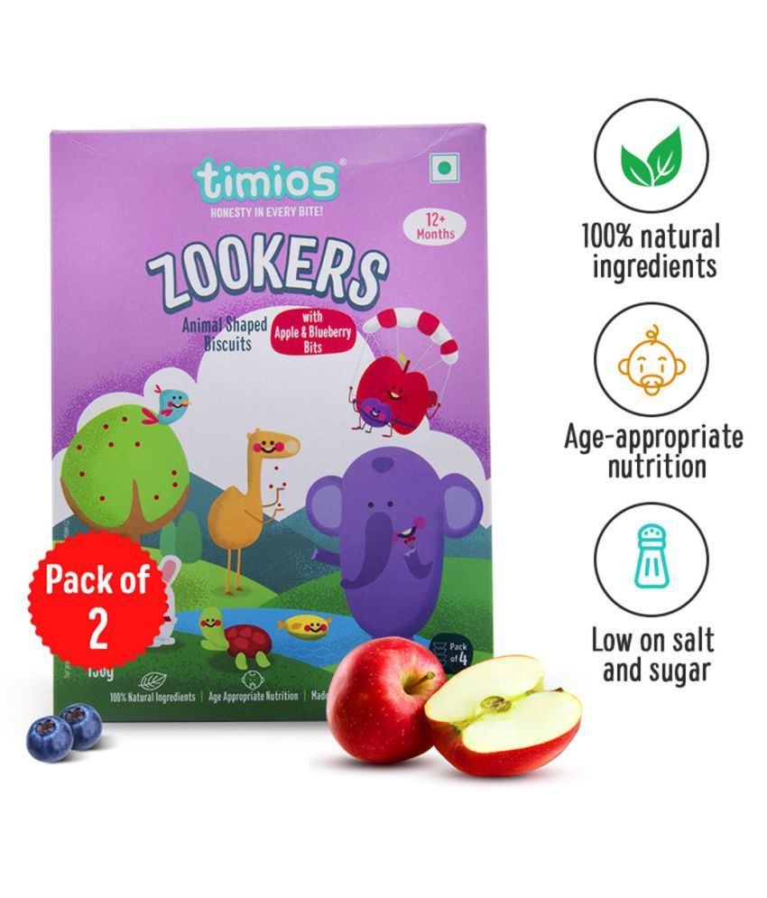 Timios Zookers Apple & Blueberry Bits Biscuits for 12 Months + ( 150 gm ) Pack of 2