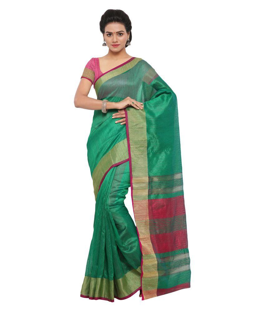 matoshree Green Tussar Silk Saree