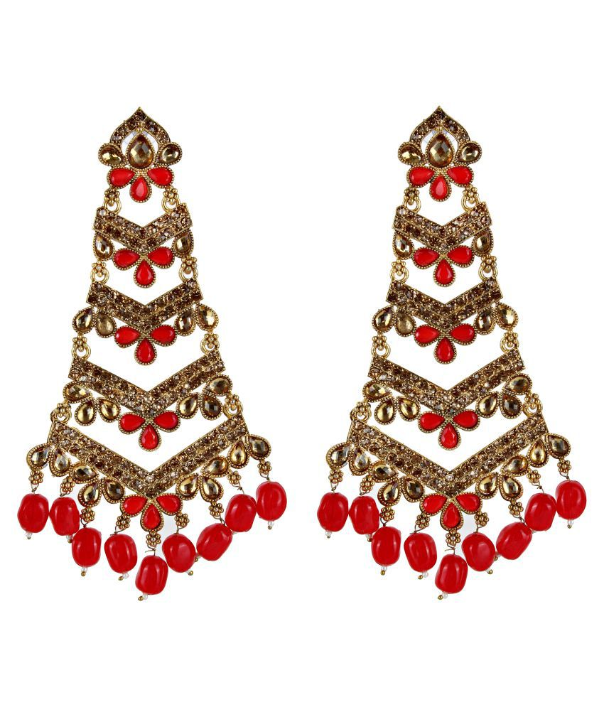 Lucky Jewellery Elegant Designer Gold Plating Red Color Stud with Stone and Peals Long Dangle Earring For girls & Women (380-WES-454-RED)