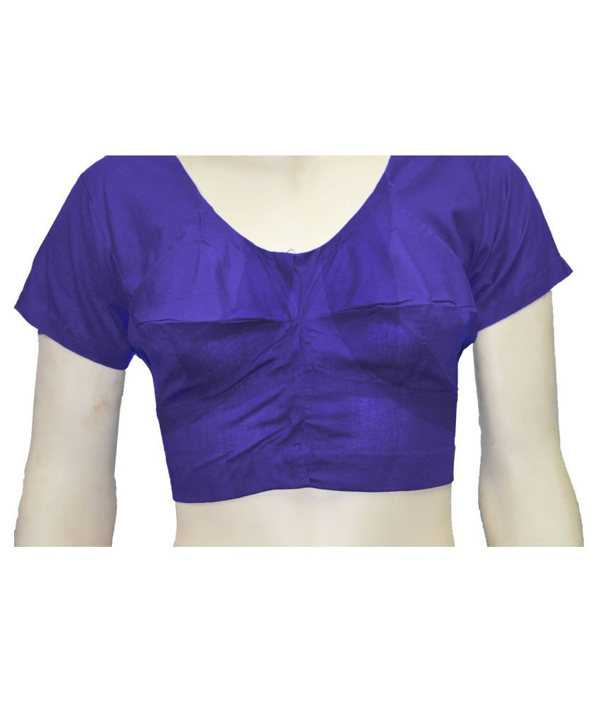 Lyril Purple Cotton Readymade without Pad Blouse