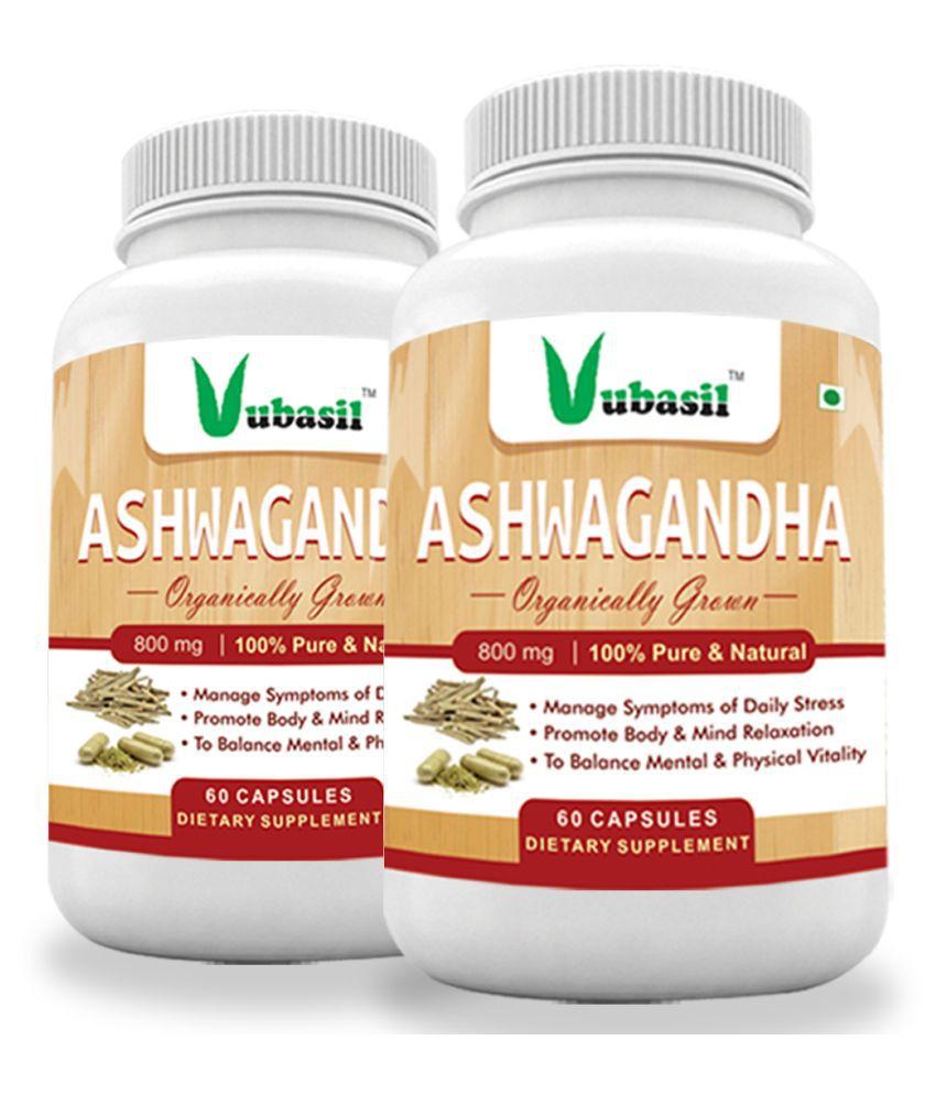 VUBASIL Herbal Ashwagandha for General Wellness Capsule 120 no.s Pack Of 2