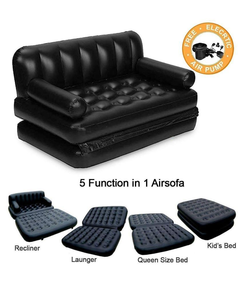 DREAMSKART 5 in 1 Inflatable Air Sofa Three Seater Queen Size Air Sofa Cum Bed, Lounge Couch Mattress Inflatable with Free Electric Pump & Carry Bag, (3 Seater, Black)
