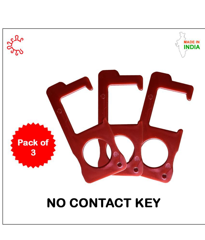 Mikha No Contact KeyChain for Daily Use Keeps Hand Clean, Poratble Key to Push Elevator Button, ATM, Swtich Germ Free Touch Free - Pack of 3