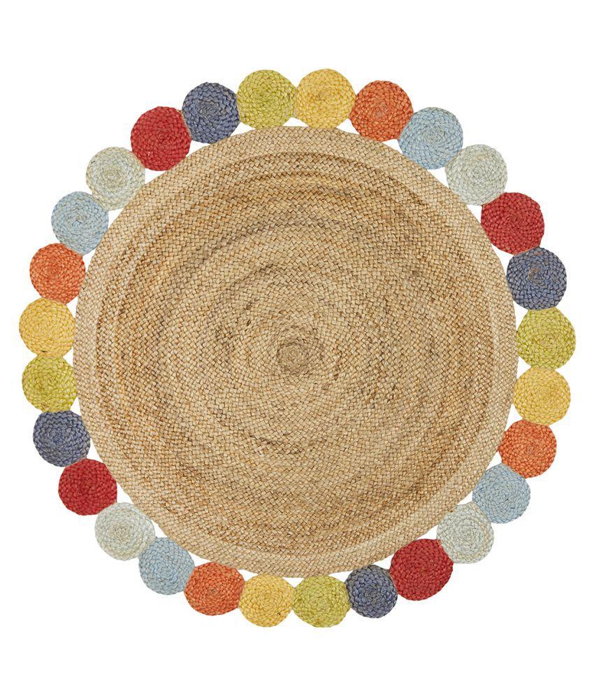 PRINTSHOPPI Multi Jute Carpet Natural Other Sizes Ft