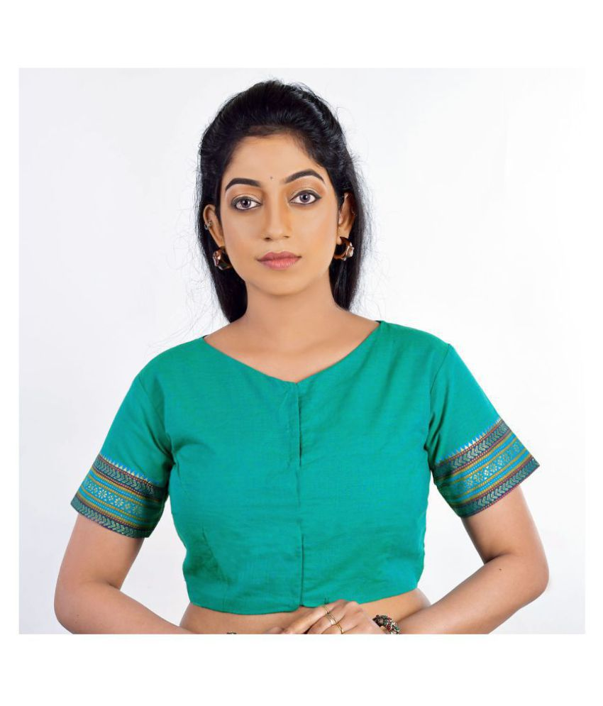 FASHION OFFBEAT Green Cotton Readymade without Pad Blouse