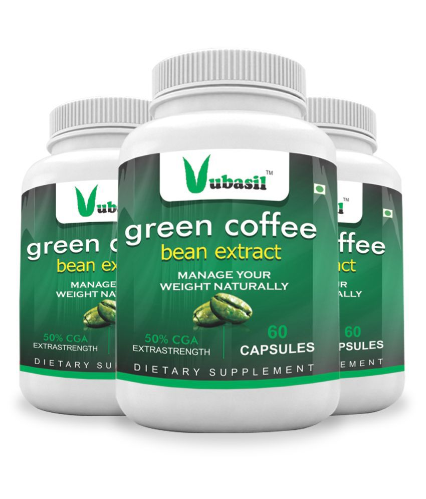 VUBASIL Herbal Green Coffee Extract Weight Loss Capsule 180 no.s Pack of 3