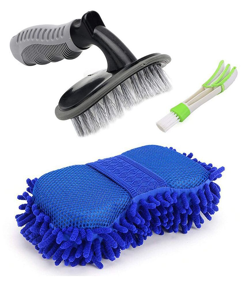 Amazing Hub Combo Pack of 3 Hub - 1 Car Tyre / Tire / Wheel Rim Cleaning Brush, 1 Car AC Vent Cleaner and 1 Big Size Car Cleaning Sponge