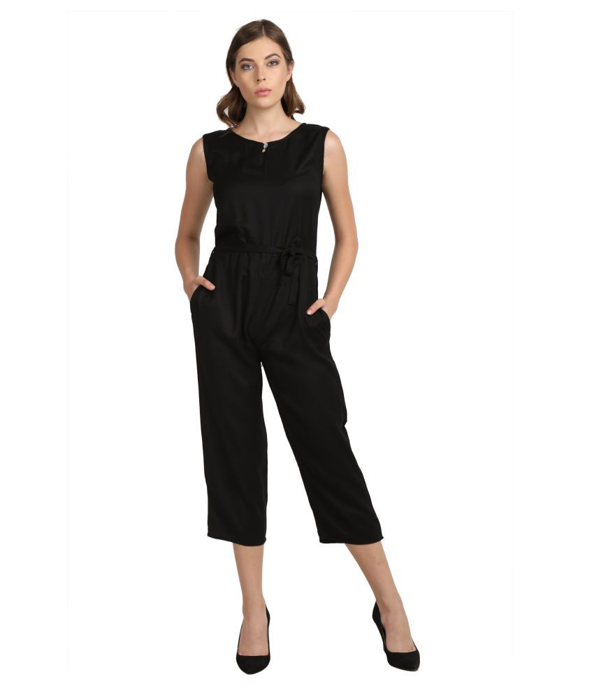 Curlx Fashion Black Rayon Jumpsuit