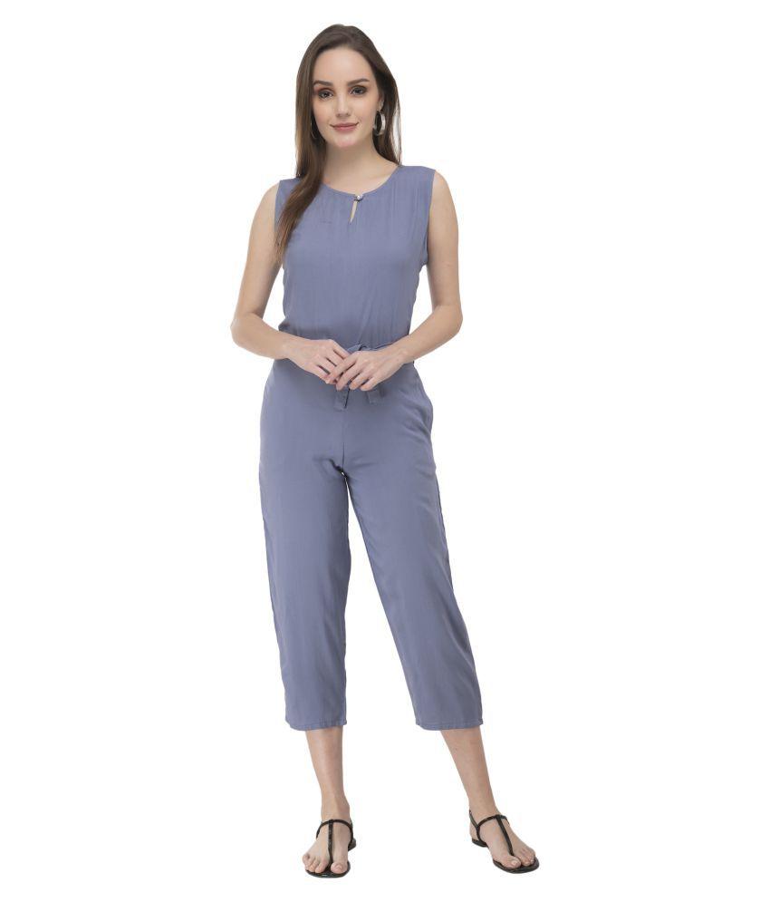 Curlx Fashion Blue Rayon Jumpsuit