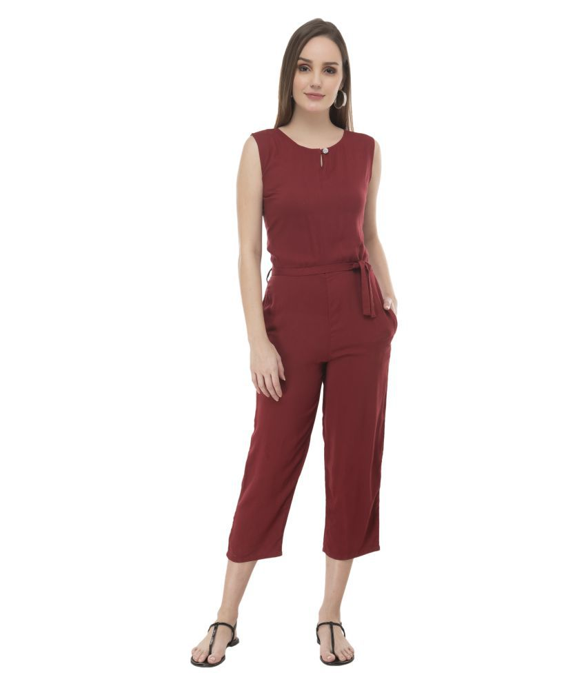 Curlx Fashion Maroon Rayon Jumpsuit