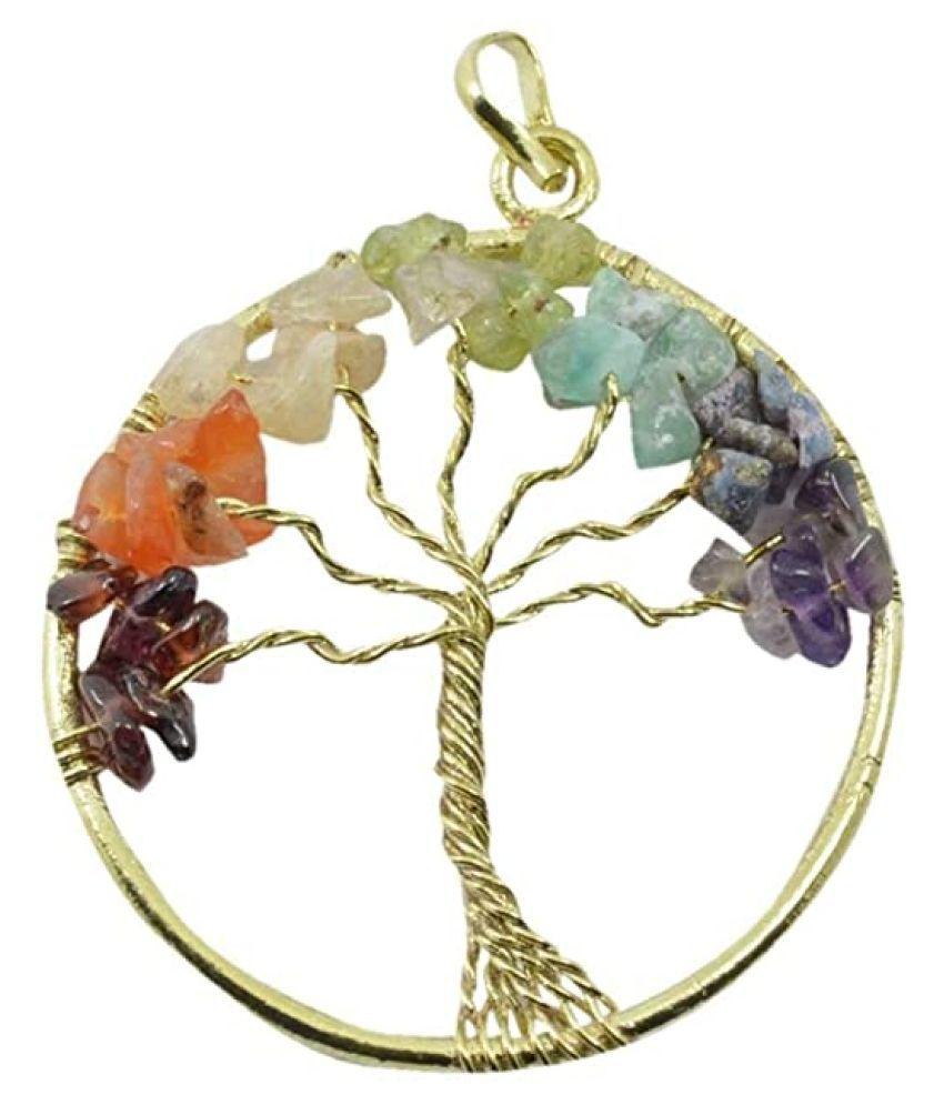 Multi Colour 7 Chakra Natural Agate Stone Tree Of Life Pendent