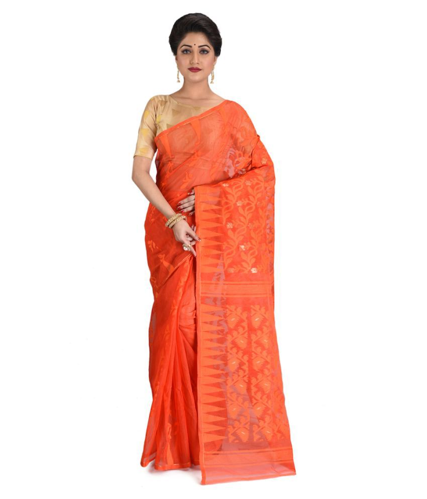 Nilu's Collection Orange Jamdani Saree