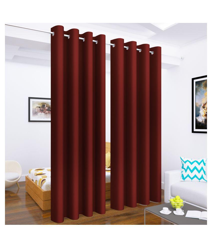 Story@Home Set of 2 Long Door Blackout Room Darkening Eyelet Silk Curtains Maroon