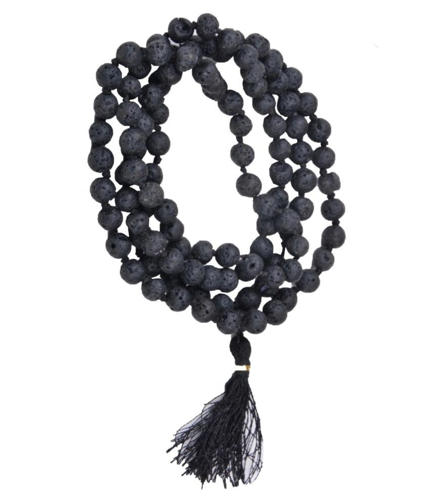 NATURAL LAVE STONE MALA 108 ROUND BEEDS JAAP MALA FOR REICKY HEALING
