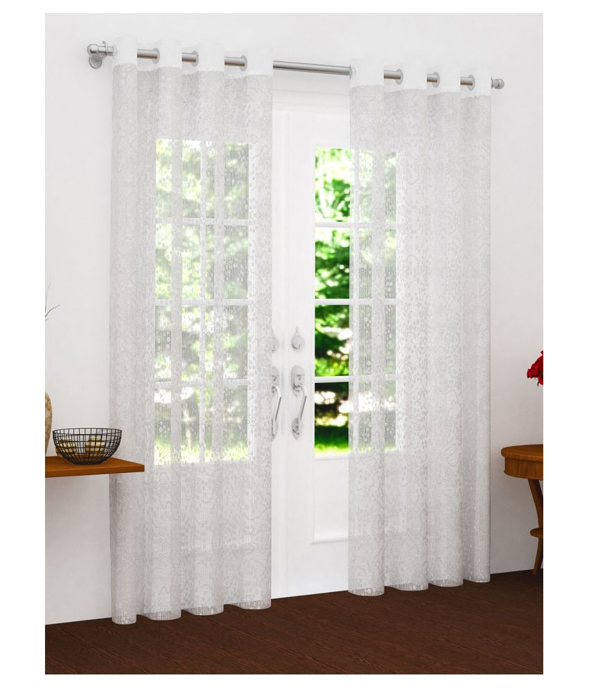 Story@Home Set of 2 Door Semi-Transparent Eyelet Polyester Curtains White