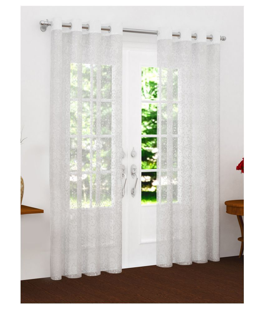 Story@Home Set of 4 Door Semi-Transparent Eyelet Polyester Curtains White