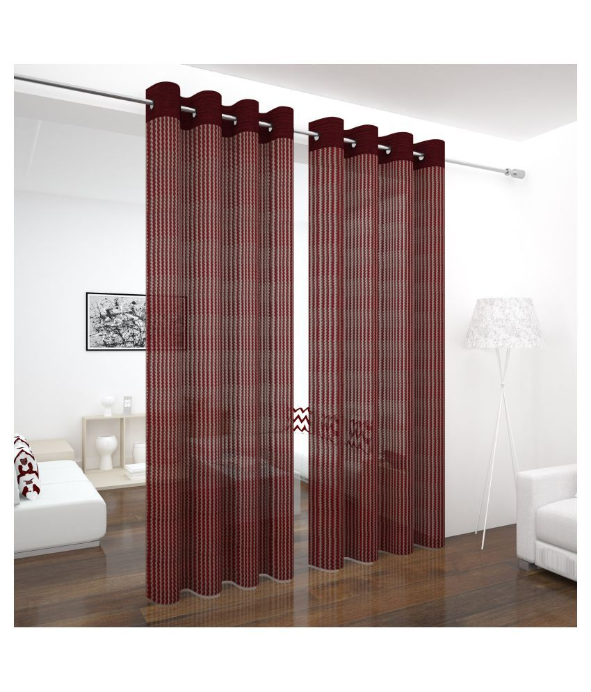 Story@Home Set of 4 Long Door Semi-Transparent Eyelet Polyester Curtains Brown