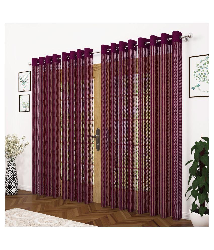 Story@Home Set of 4 Long Door Semi-Transparent Eyelet Polyester Curtains Magenta
