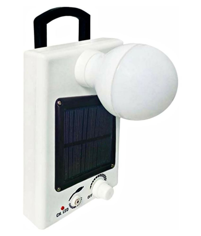 Admiz 12 Watt Bright White Light LED Bulb with Solar Panel and Electric Charging 12W Solar Bulb - Pack of 1