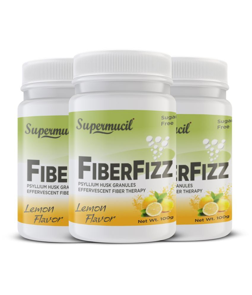 SUPERMUCIL FiberFizz: Psyllium Effervescent: Lemon Flavor Powder 100 gm Pack of 3