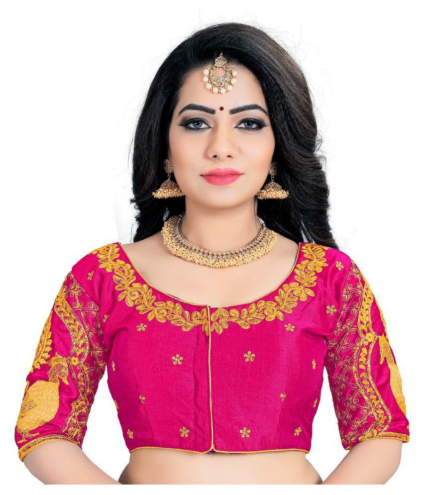 Women Blouse Pink Silk Semi Stitched Blouse