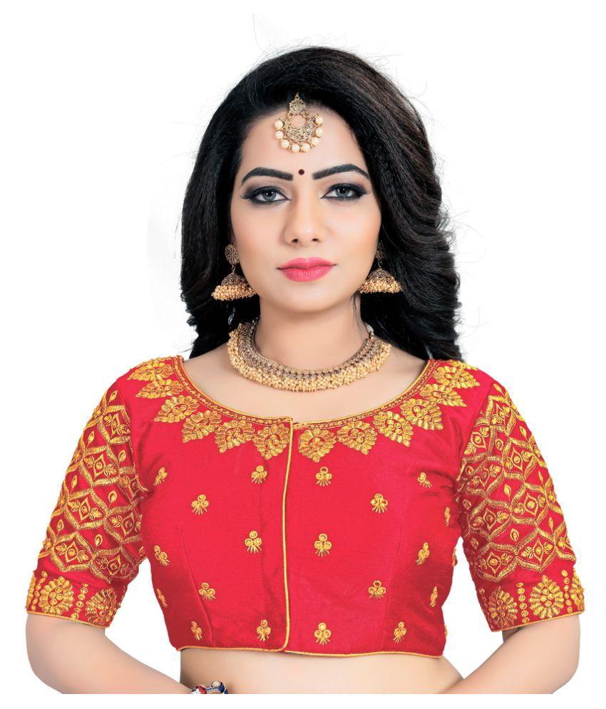 Women Blouse Red Dupian Silk Semi Stitched Blouse