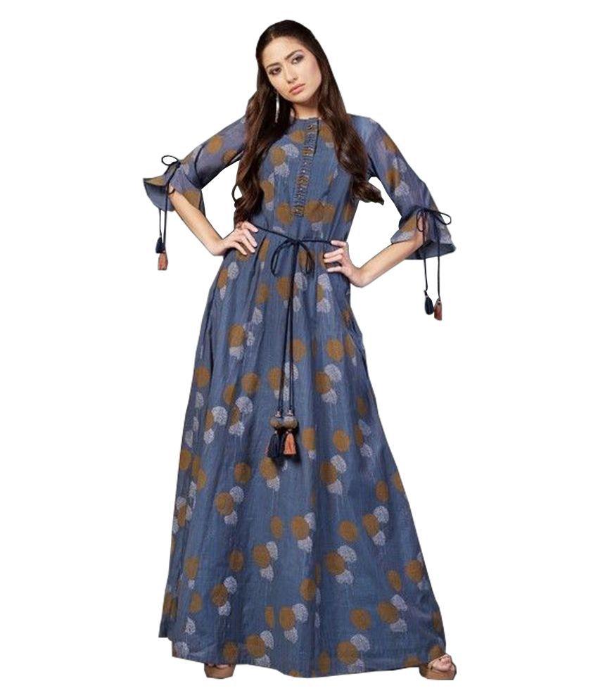 Ritsila Cotton Blue A- line Dress