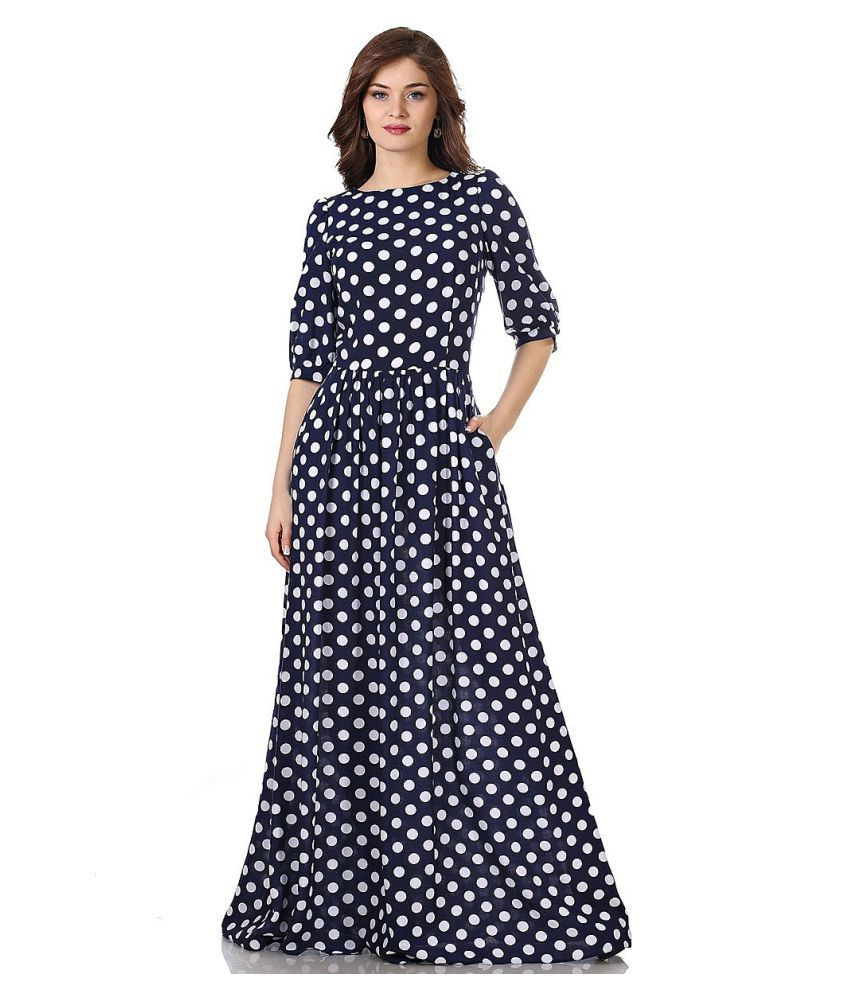 Ritsila Cotton Blue Fit And Flare Dress