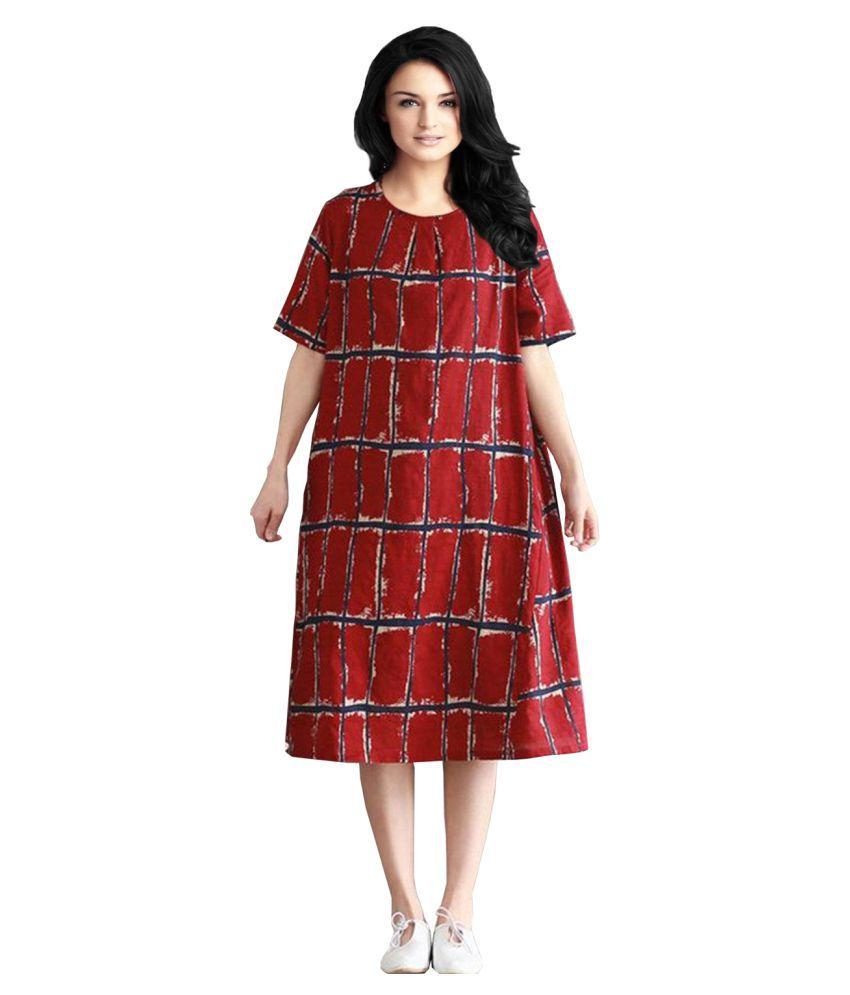 Ritsila Cotton Red A- line Dress