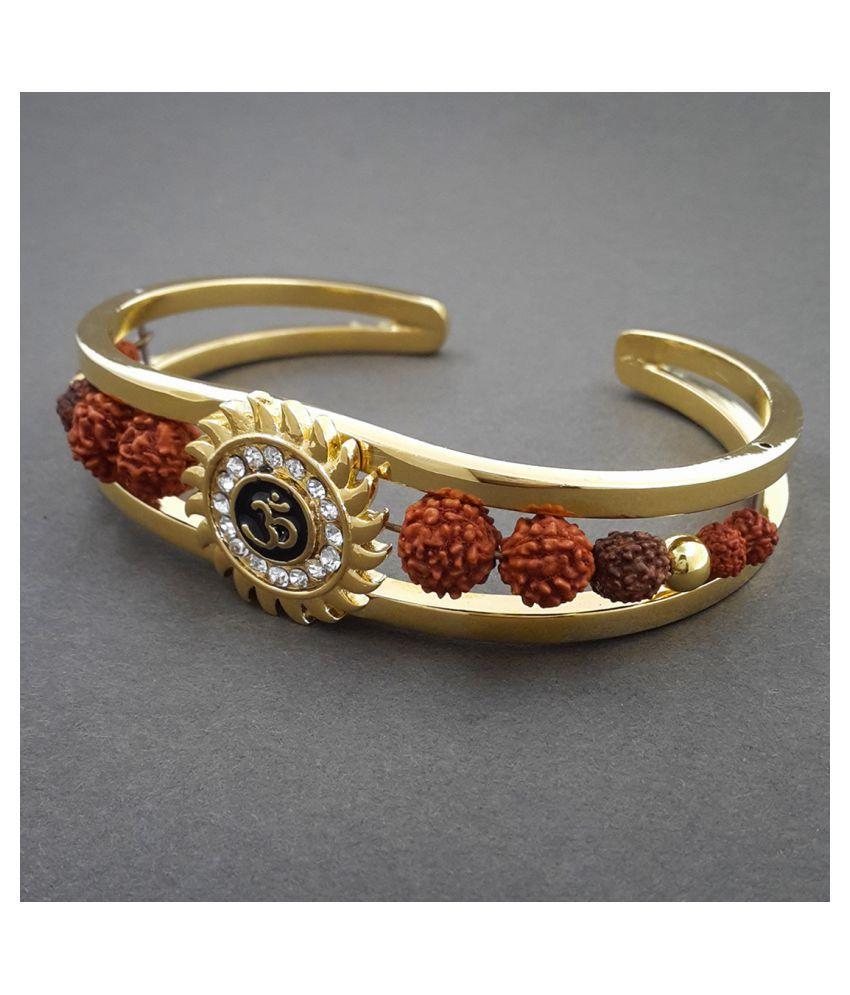 Cuff Kada Rudraksh American Diamond Gold Meena Om Sun Cuff Kada Bracelet for Men/Rudraksha Kada