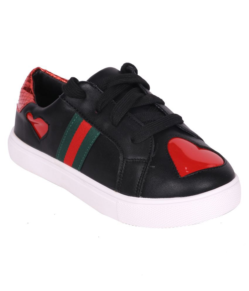 Happyy Feet Girl's Black Synthetic Leather Shoes